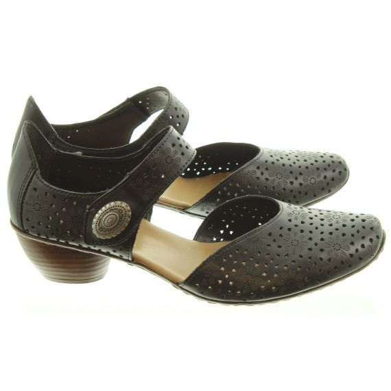 RIEKER Ladies 43711 Open Waist Sandals In Black