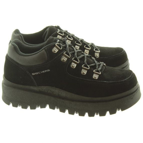 SKECHERS Ladies 48582 Lace Shoes In Black