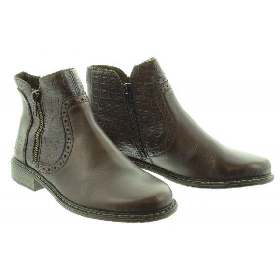 RIEKER Ladies 49 Zip Ankle Boot in Brown