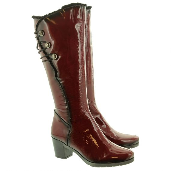 JOSE SAENZ Ladies 5177 Knee Boots In Red Patent