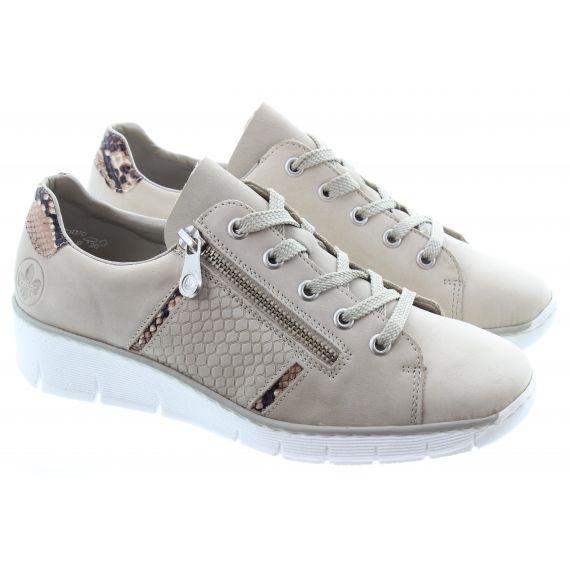 RIEKER Ladies 53711 Zip Wedge Shoes in Beige