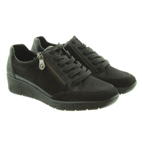 RIEKER Ladies 53716 Wedge Lace Shoes In Black