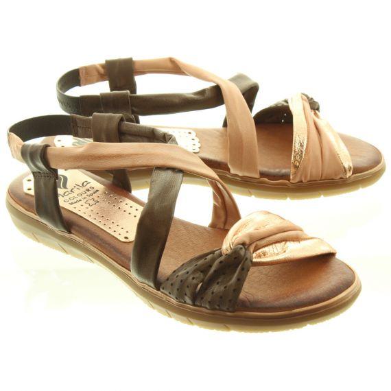 MARILA Ladies 601EM25 Flat Sandals In Brown Multi