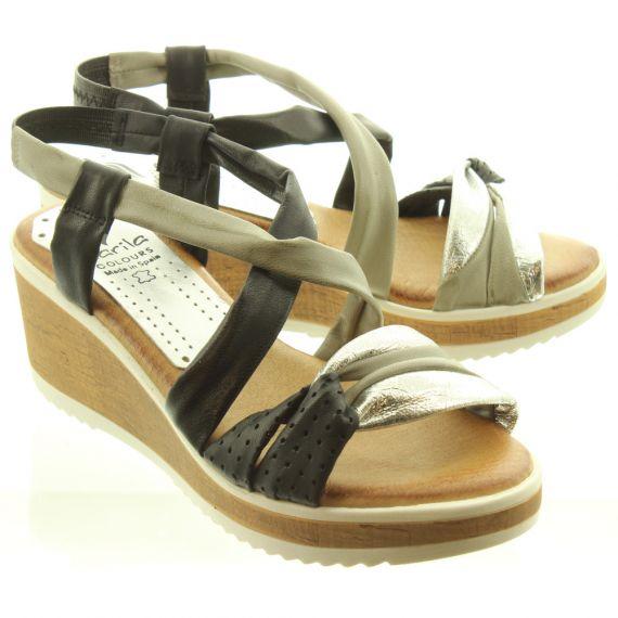 MARILA Ladies 601SEC25 Wedge Sandals In Black Multi