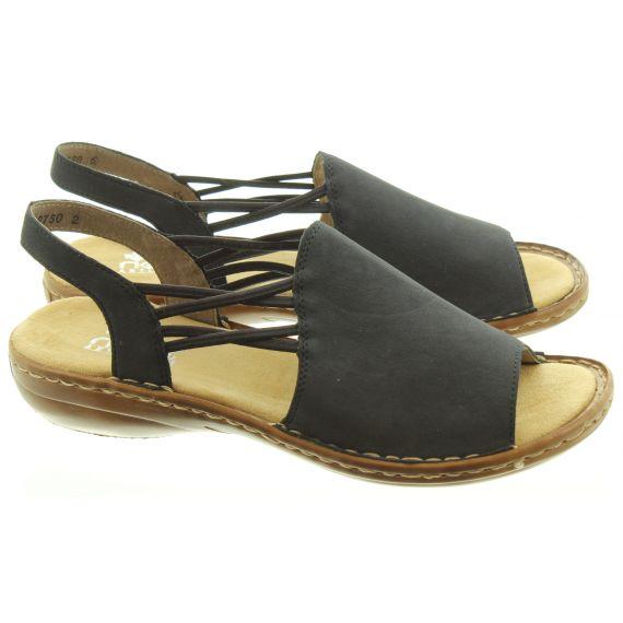RIEKER Ladies 608D1 Flat Sandals In Navy