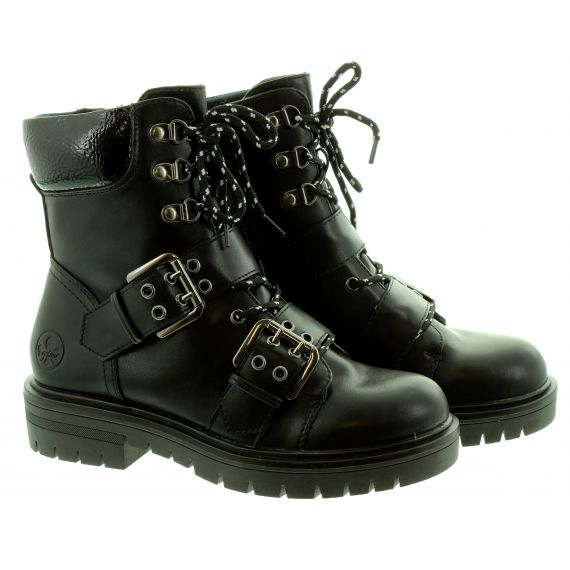RIEKER Ladies 91524 Lace Ankle Boots In Black