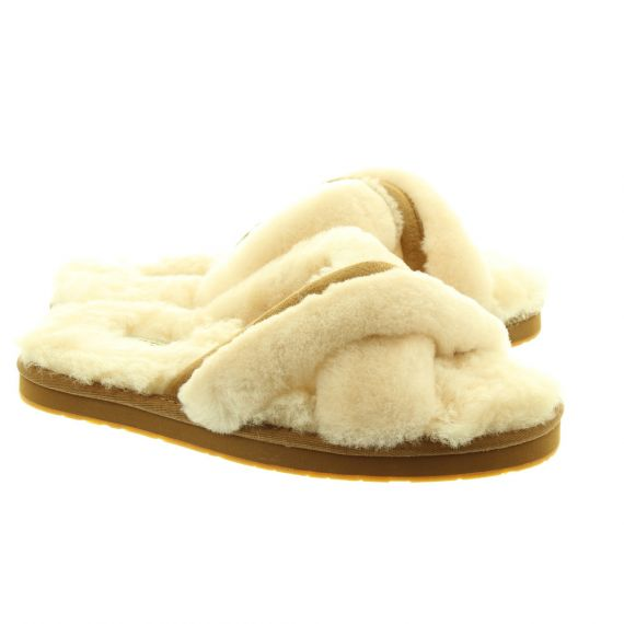 UGG Ladies Abela Fluff Slippers In Natural