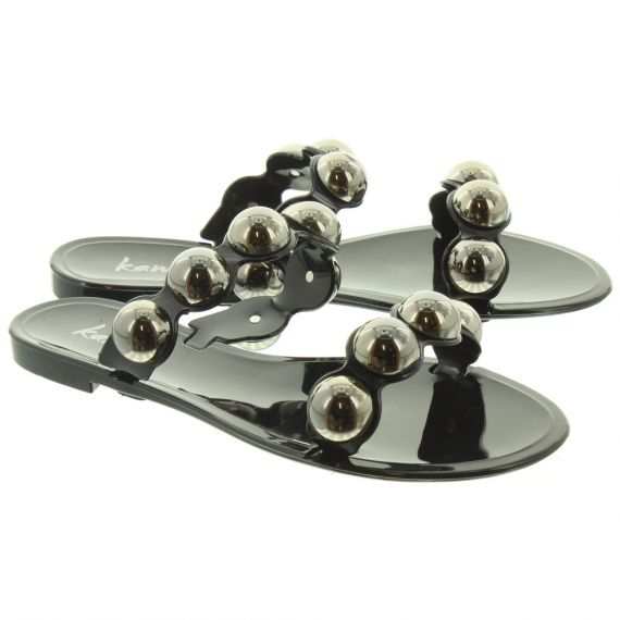 KAMOA Ladies Abigail Ball Slide Sandals In Black