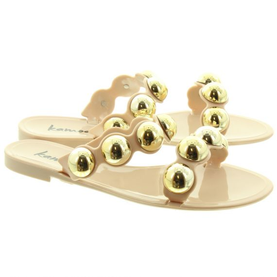 KAMOA Ladies Abigail Ball Slide Sandals In Nude
