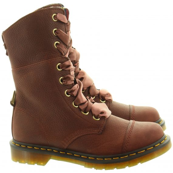 DR MARTENS Ladies Aimilita Calf Boots In Cherry