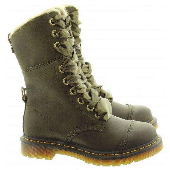 DR MARTENS Ladies Aimilita Faux Fur Calf Boots In Olive