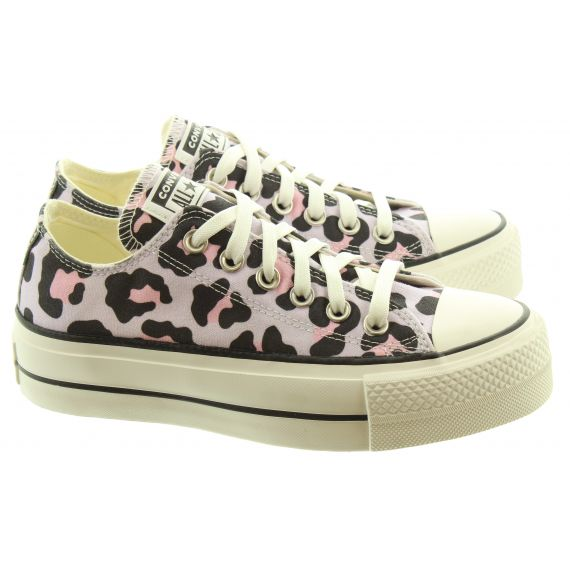 CONVERSE Ladies Allstar Lift Ox Shoes In Leopard Print