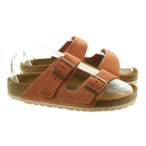 BIRKENSTOCK LADIES BIRKENSTOCK ARIZONA SUEDE IN EARTH RED