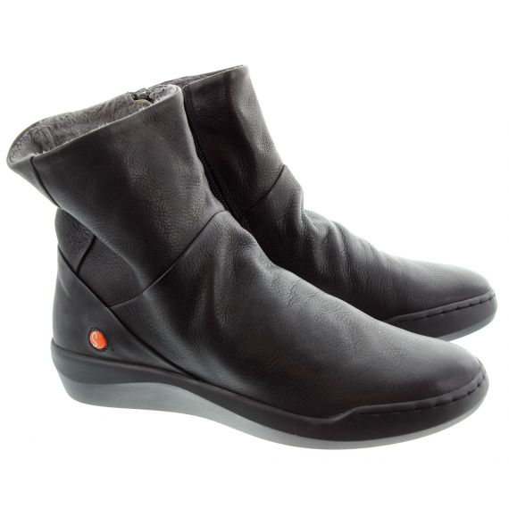 SOFTINOS Ladies Bler Flat Ankle Boots In Black