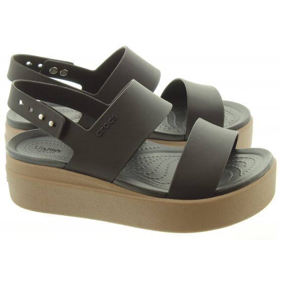CROCS Ladies Brooklyn Low Wedge Sandals In Black
