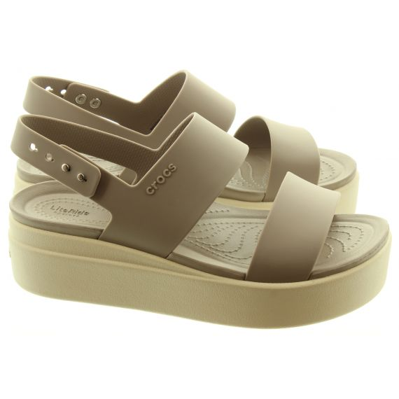 CROCS Ladies Brooklyn Low Wedge Sandals In Mushroom