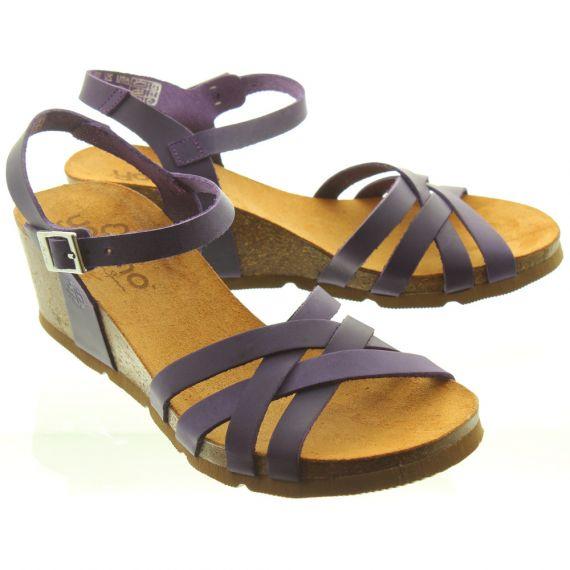 YOKONO Ladies Cadiz 071 Weave Wedge Shoes In Purple
