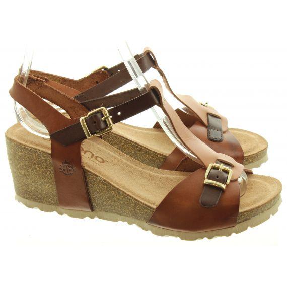 YOKONO Ladies Cadiz 112 Wedge Sandals In Tan