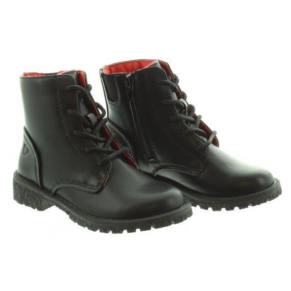 HEAVENLY FEET Kids Cassie Lace Boot in Black
