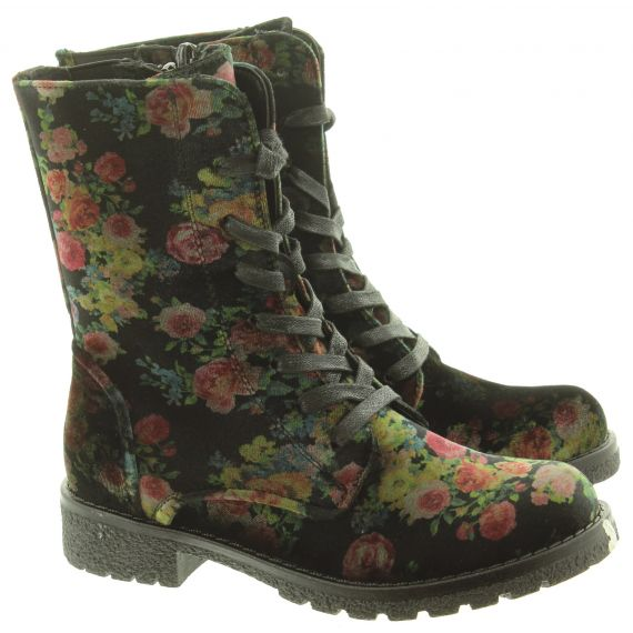 HEAVENLY FEET Ladies Chloe Lace Boots In Black Floral