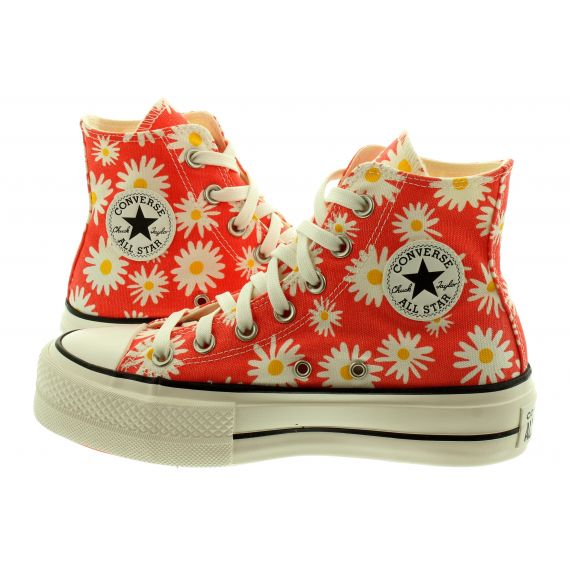 CONVERSE Ladies Chuck Taylor All Star Lift Hi Boots In Red Multi