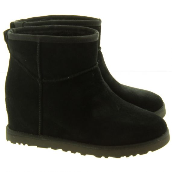 UGG Ladies Classic Femme Mini Wedge Boots In Black