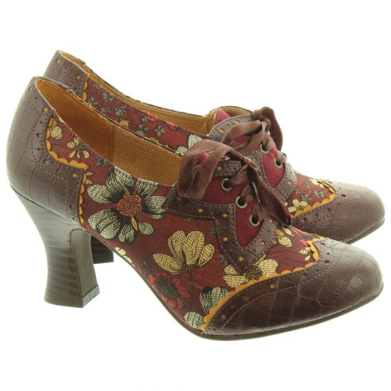 Ladies Daisy Lace Shoes In Brown