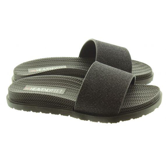 HEAVENLY FEET Ladies Dune Slide Sandals In Black