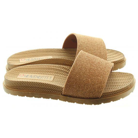 HEAVENLY FEET Ladies Dune Slide Sandals In Rose Gold