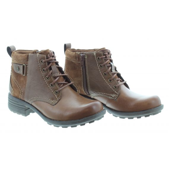 EARTH SPIRIT Ladies Earth Spirt Paxton 2 Lace Ankle Boot in Tan