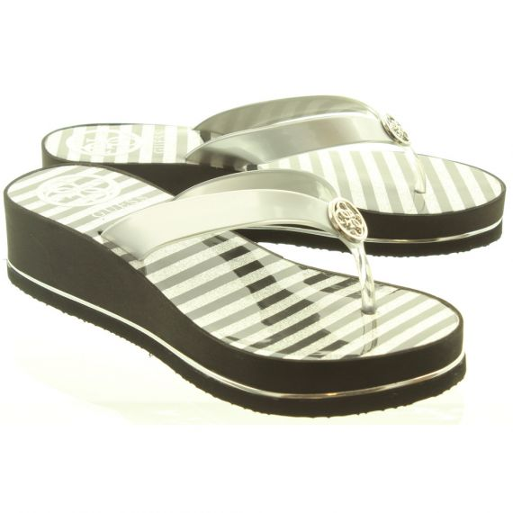 GUESS Ladies ELE21 Toe Post Sandals In Silver