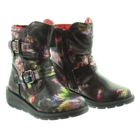 HEAVENLY FEET Kids Ellie Buckle Boot in Black Multi