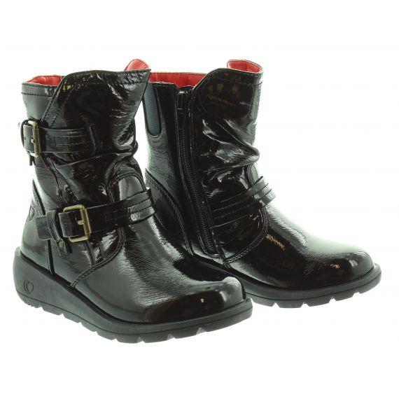 HEAVENLY FEET Kids Ellie Buckle Boot in Black Patent