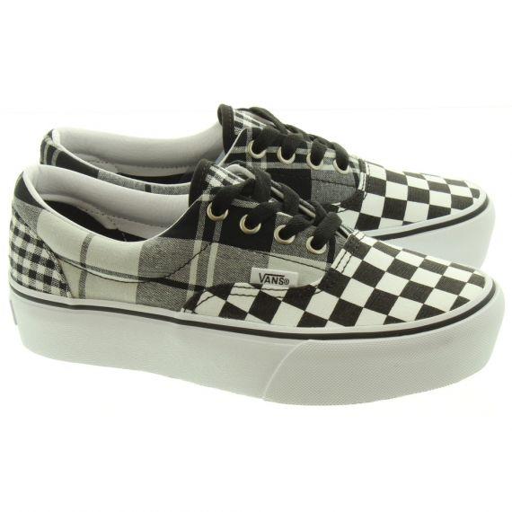 VANS Ladies Era Platform Shoes In Black And White