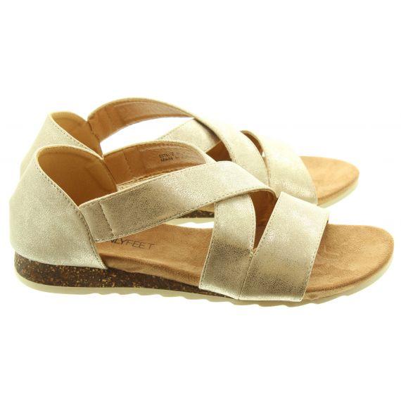 HEAVENLY FEET Ladies Estelle Flat Vegan Sandals In Rose Gold