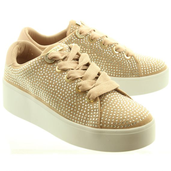 GUESS Ladies ESY12 Diamante Trainers In Blush