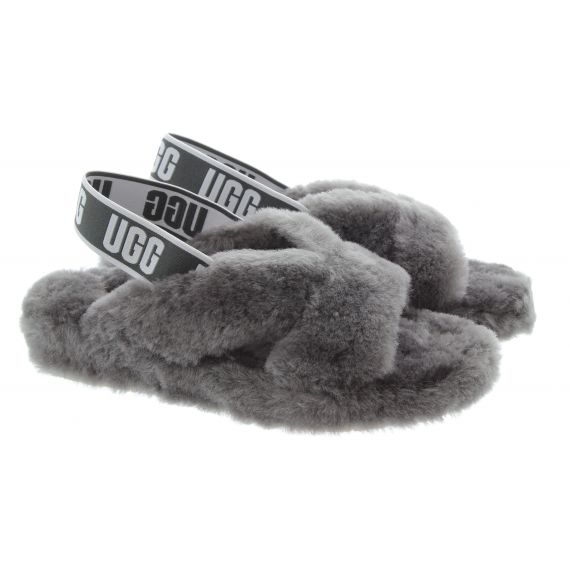 UGG Ladies Fab Yeah Slides In Charcoal