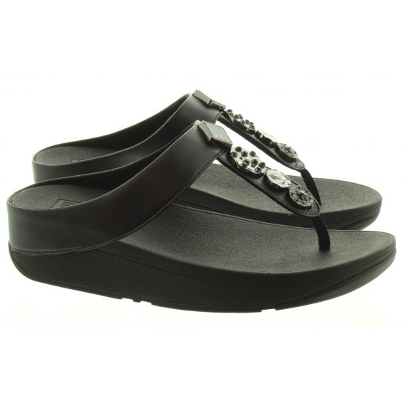 FITFLOP LADIES FITFLOP FINO CIRCLE TOE POST SANDAL IN BLACK