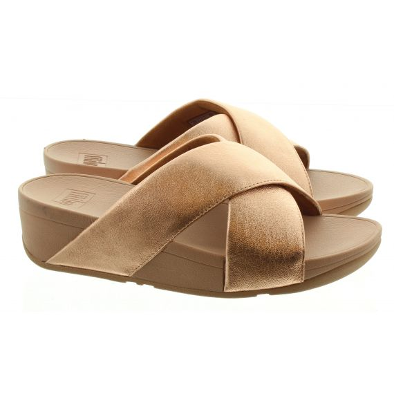 FITFLOP LADIES FITFLOP LULU CROSS SLIDE IN ROSE GOLD