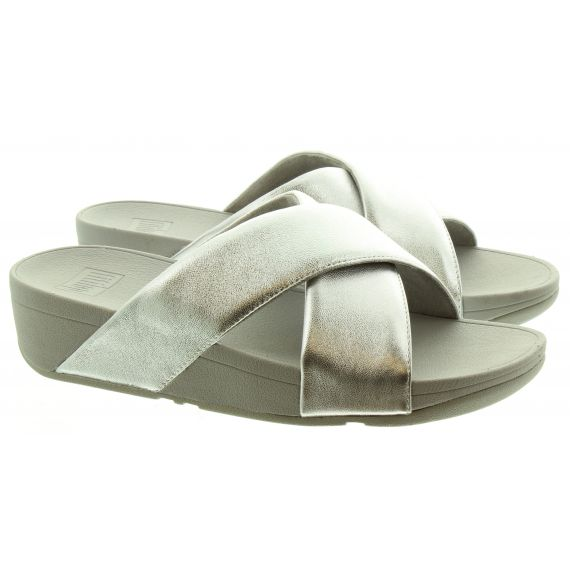FITFLOP Ladies Fitflop Lulu Cross Slide Sandals in Silver