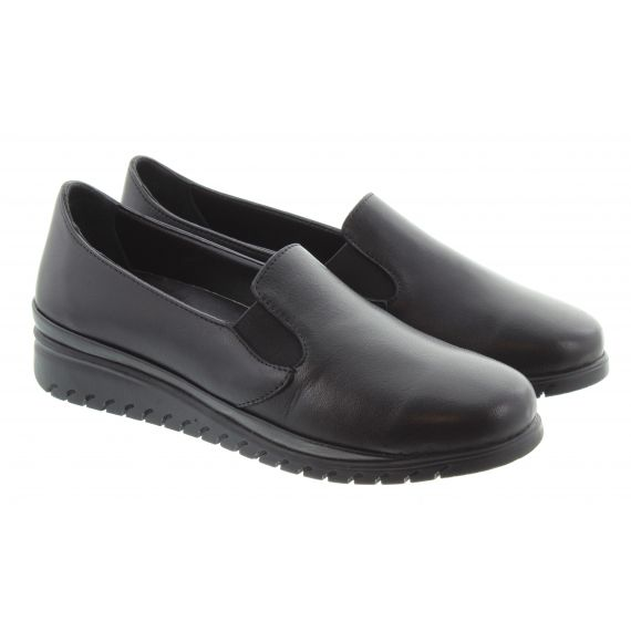 LUNAR Ladies FLE03 Stash Slip On Shoes In Black