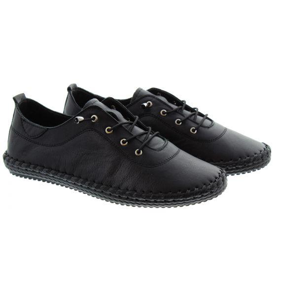 LUNAR Ladies FLE030 St Ives Leather Pumps In All Black