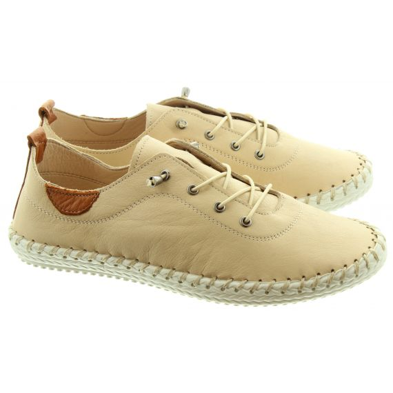 LUNAR Ladies FLE030 St Ives Leather Shoes In Beige