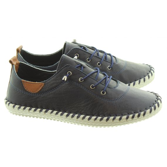 LUNAR Ladies FLE030 St Ives Leather Shoes In Navy