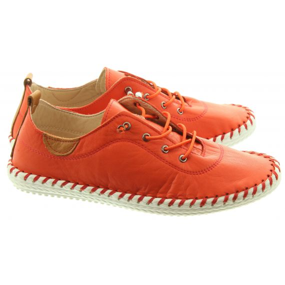 LUNAR Ladies FLE030 St Ives Leather Shoes In Orange