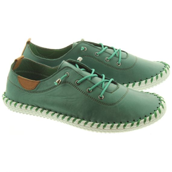 LUNAR Ladies FLE030 St Ives Shoes In Green