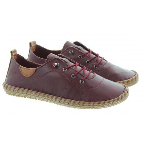 LUNAR Ladies FLG019 Whitstable Shoes In Burgundy