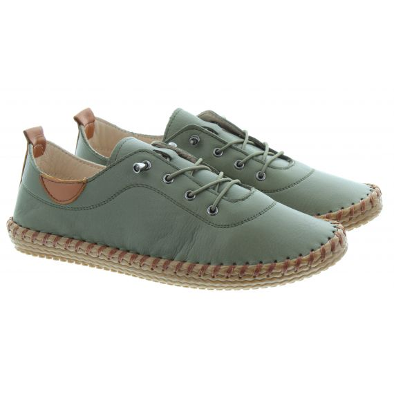 LUNAR Ladies FLG019 Whitstable Shoes In Olive