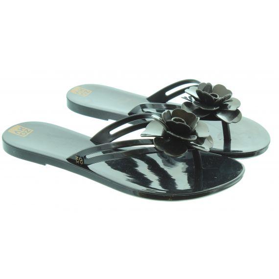 ZAXY Ladies Flower Power Toe Post Sandals In Black