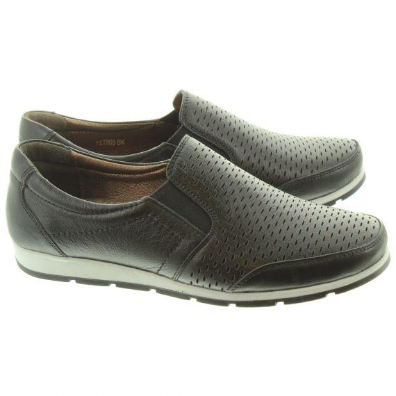 LUNAR Ladies FLT005 Cora Loafer Shoes In Black